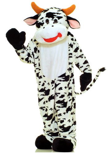 Click Here to buy Mascot Cow Costume | Farm Animal Costume | Full Body Suit from HalloweenCostumes, CDN Funds & Shipping