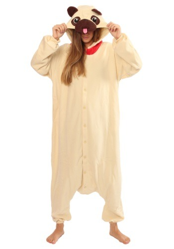 Click Here to buy Adult Pug Kigurumi Pajama Costume from HalloweenCostumes, CDN Funds & Shipping