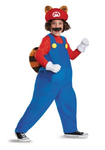 Click Here to buy Kids Deluxe Mario Raccoon Costume from HalloweenCostumes, CDN Funds & Shipping