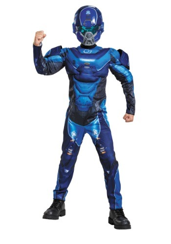 Click Here to buy Kids Halo Blue Spartan Muscle Chest Costume from HalloweenCostumes, CDN Funds & Shipping