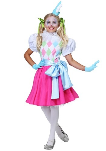 Cotton Candy Clown Girls Costume