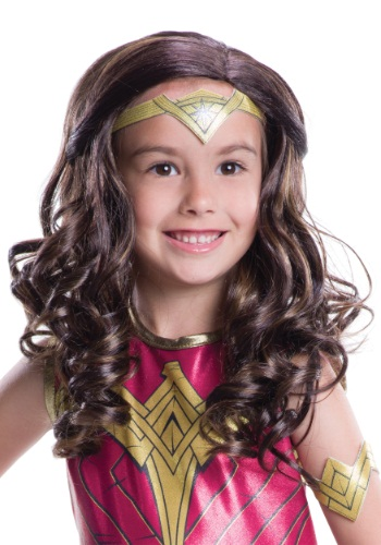 Click Here to buy Dawn of Justice Kids Wonder Woman Wig from HalloweenCostumes, CDN Funds & Shipping