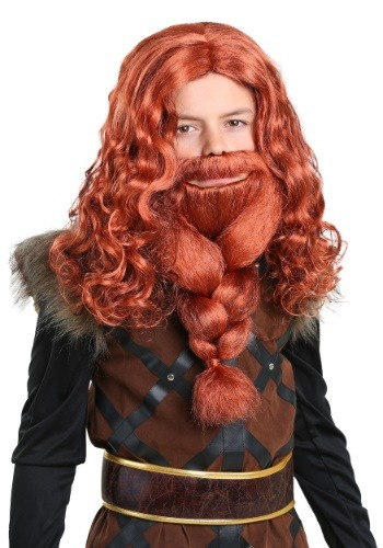 Red Viking Wig and Beard Set for Kids