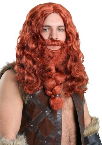 Red Viking Wig and Beard Set for Men