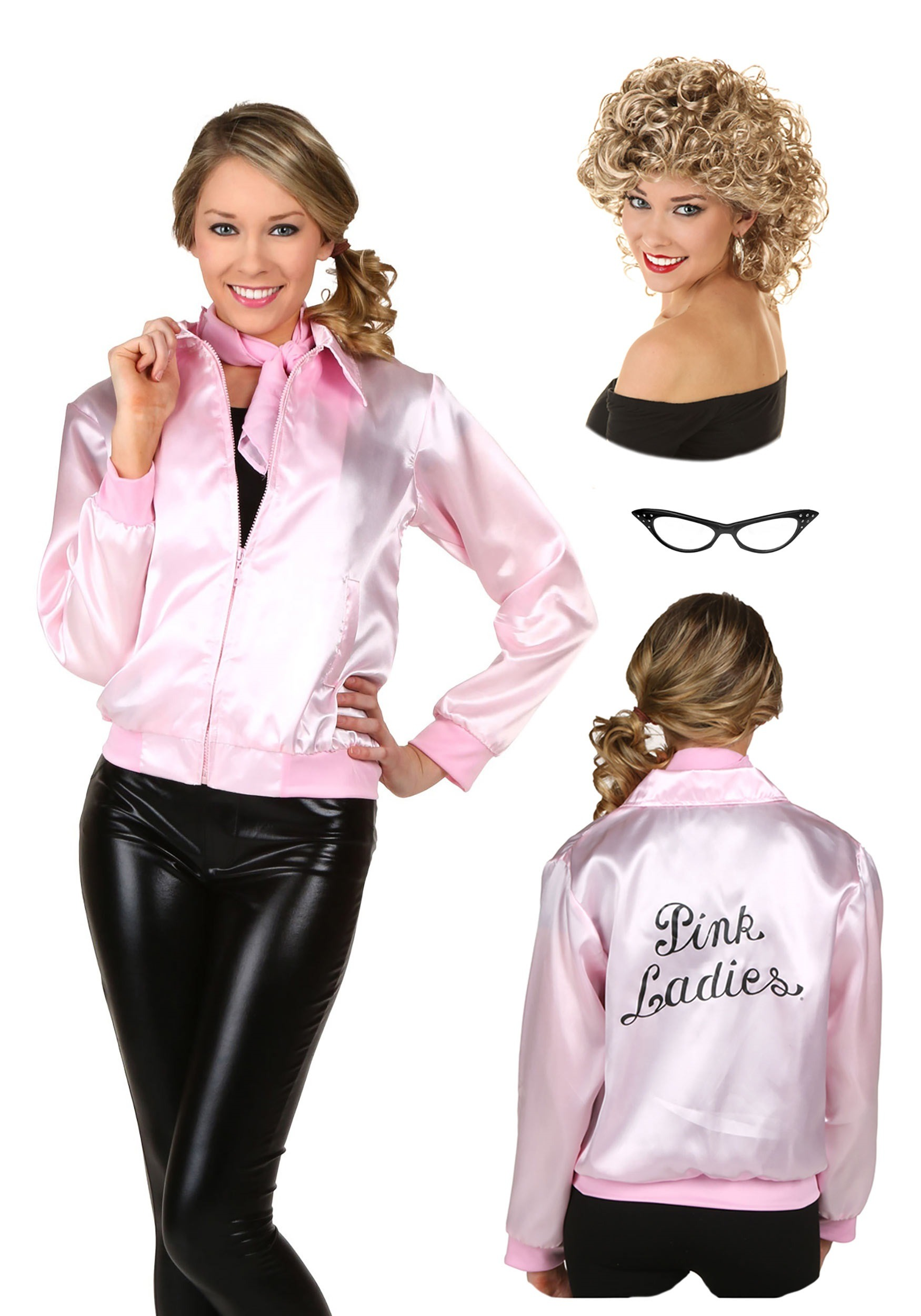 e50aae3a1bb12 Womens Grease Pink Ladies Jacket and Sandy Wig Costume