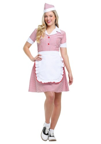 Click Here to buy Plus Size Car Hop Womens Costume | 50s Costume from HalloweenCostumes, CDN Funds & Shipping