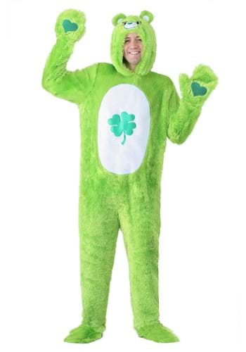 Click Here to buy Care Bears Adult Classic Good Luck Bear Costume Hooded Jumpsuit from HalloweenCostumes, CDN Funds & Shipping