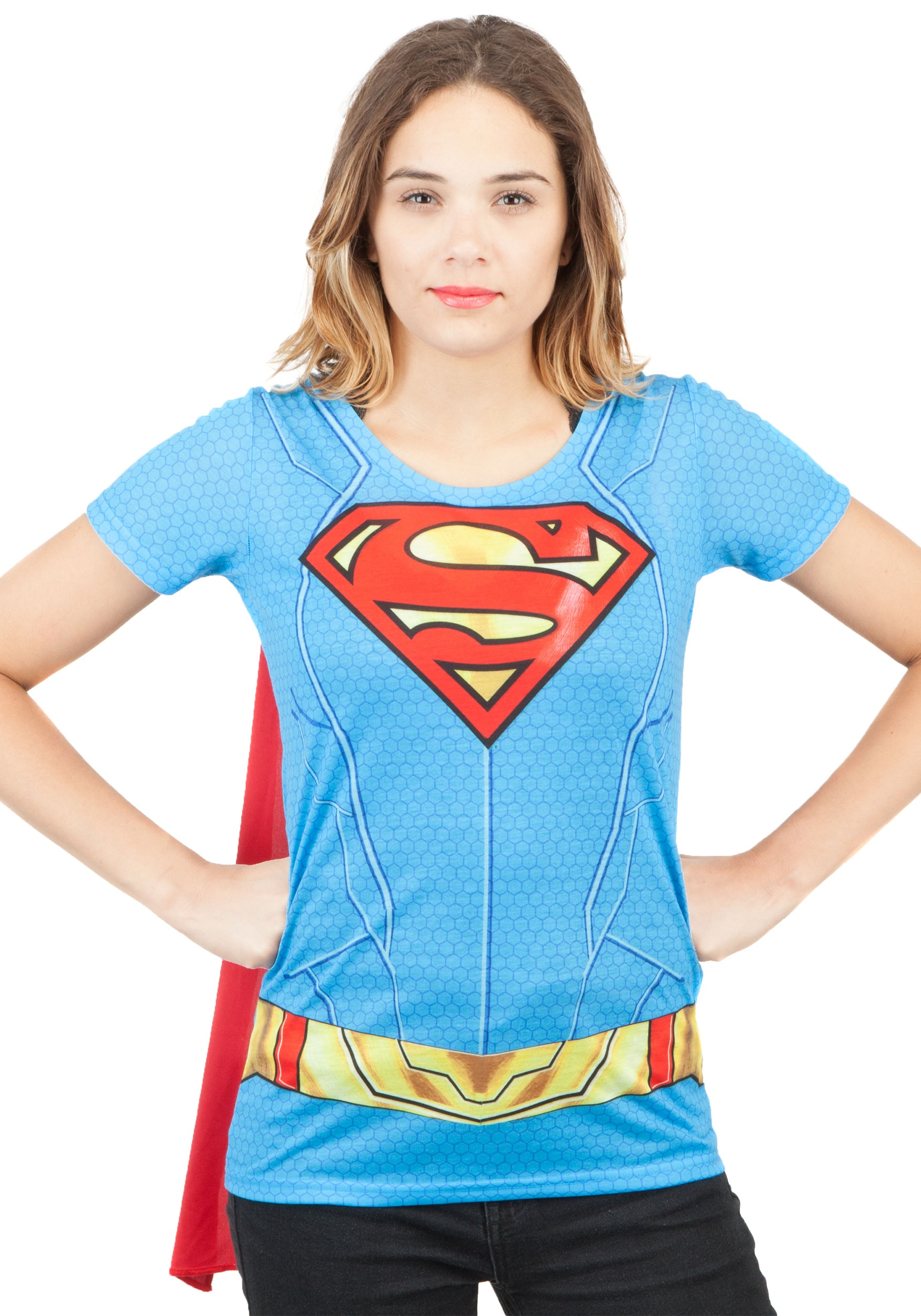 65b6af82 Supergirl Suit Up Sublimated Cape Tee Costume for Women