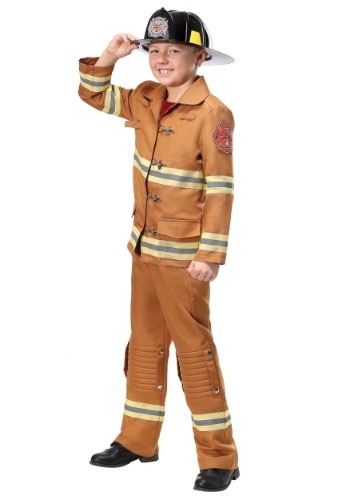 Click Here to buy Firefighter Tan Uniform Kids Costume from HalloweenCostumes, CDN Funds & Shipping