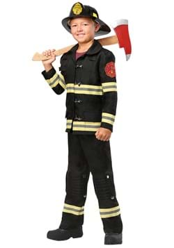 Kids Black Uniform Firefighter Costume