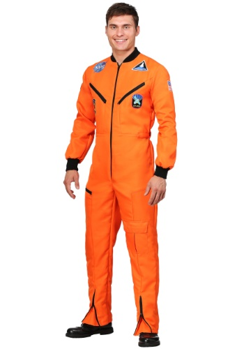Orange Astronaut Jumpsuit Adult Plus Size Costume