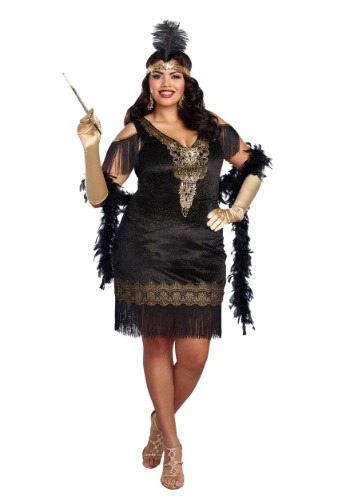 Click Here to buy Plus Size Womens Swanky Flapper Costume 1X 2X 3X 4X | Decade Costume from HalloweenCostumes, CDN Funds & Shipping