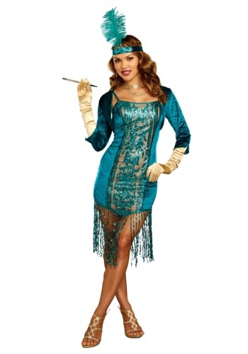 Click Here to buy Tantalizing Teal Flapper Womens Costume from HalloweenCostumes, CDN Funds & Shipping
