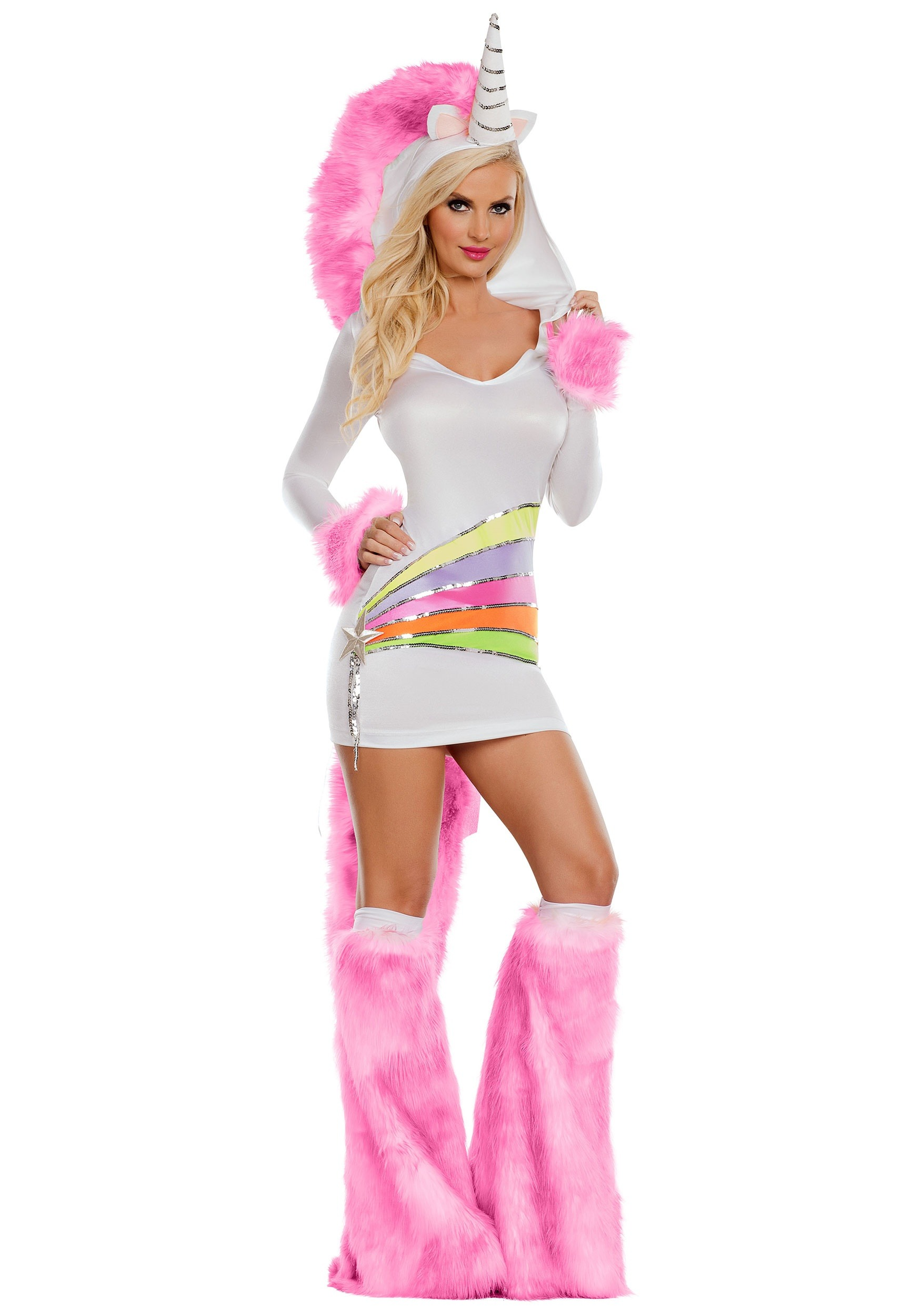 INOpets.com Anything for Pets Parents & Their Pets Rainbow Unicorn Women's Costume