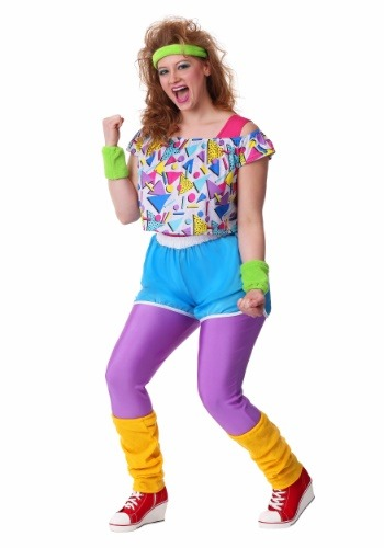 Click Here to buy Work It Out 80s Womens Plus Size Costume from HalloweenCostumes, CDN Funds & Shipping