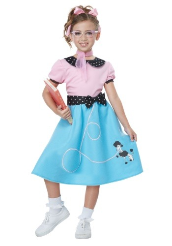 Blue 50s Sock Hop Dress Costume for Girls