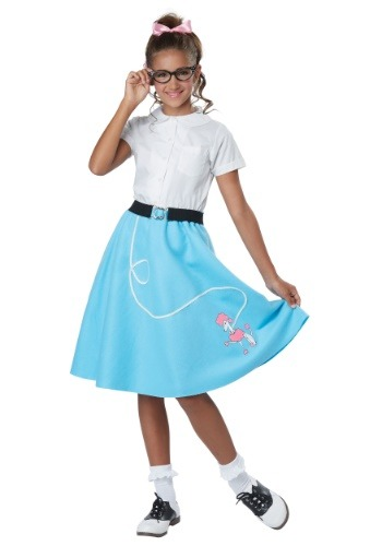 Blue 50s Poodle Skirt for Girls Costume