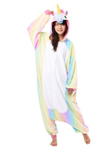 Click Here to buy Rainbow Unicorn Kigurumi Costume for Adults from HalloweenCostumes, CDN Funds & Shipping