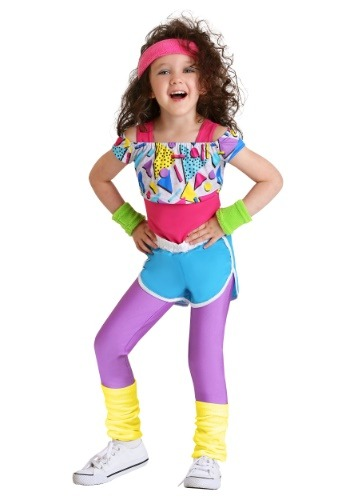 Click Here to buy Work It Out 80s Costume for Toddler Girls from HalloweenCostumes, CDN Funds & Shipping