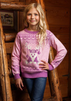 Girl's Pink Reindeer Sweater