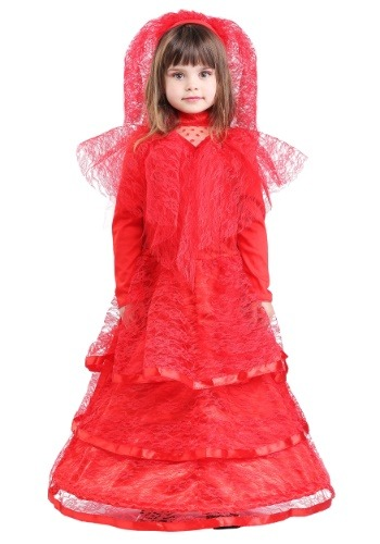 Gothic Red Wedding Dress Costume for Young Girls