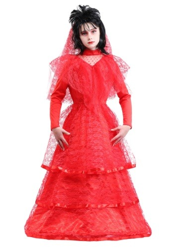 Gothic Red Wedding Dress Costume for Girls