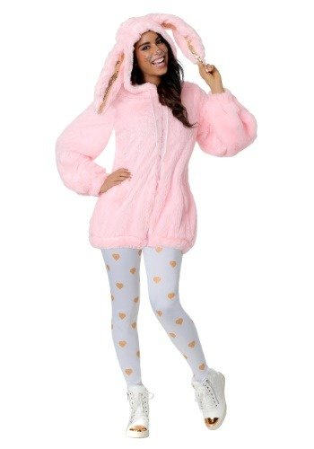 Click Here to buy Womens Plus Size Fuzzy Pink Bunny Costume from HalloweenCostumes, CDN Funds