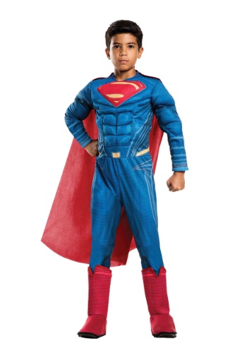 Click Here to buy Justice League Deluxe Superman Boys Costume from HalloweenCostumes, CDN Funds & Shipping
