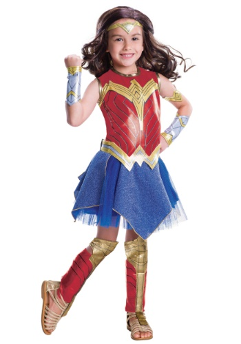 Click Here to buy Justice League Deluxe Wonder Woman Girls Costume from HalloweenCostumes, CDN Funds & Shipping