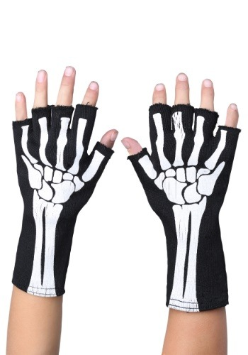 Click Here to buy Fingerless Skeleton Gloves for Kids from HalloweenCostumes, CDN Funds & Shipping