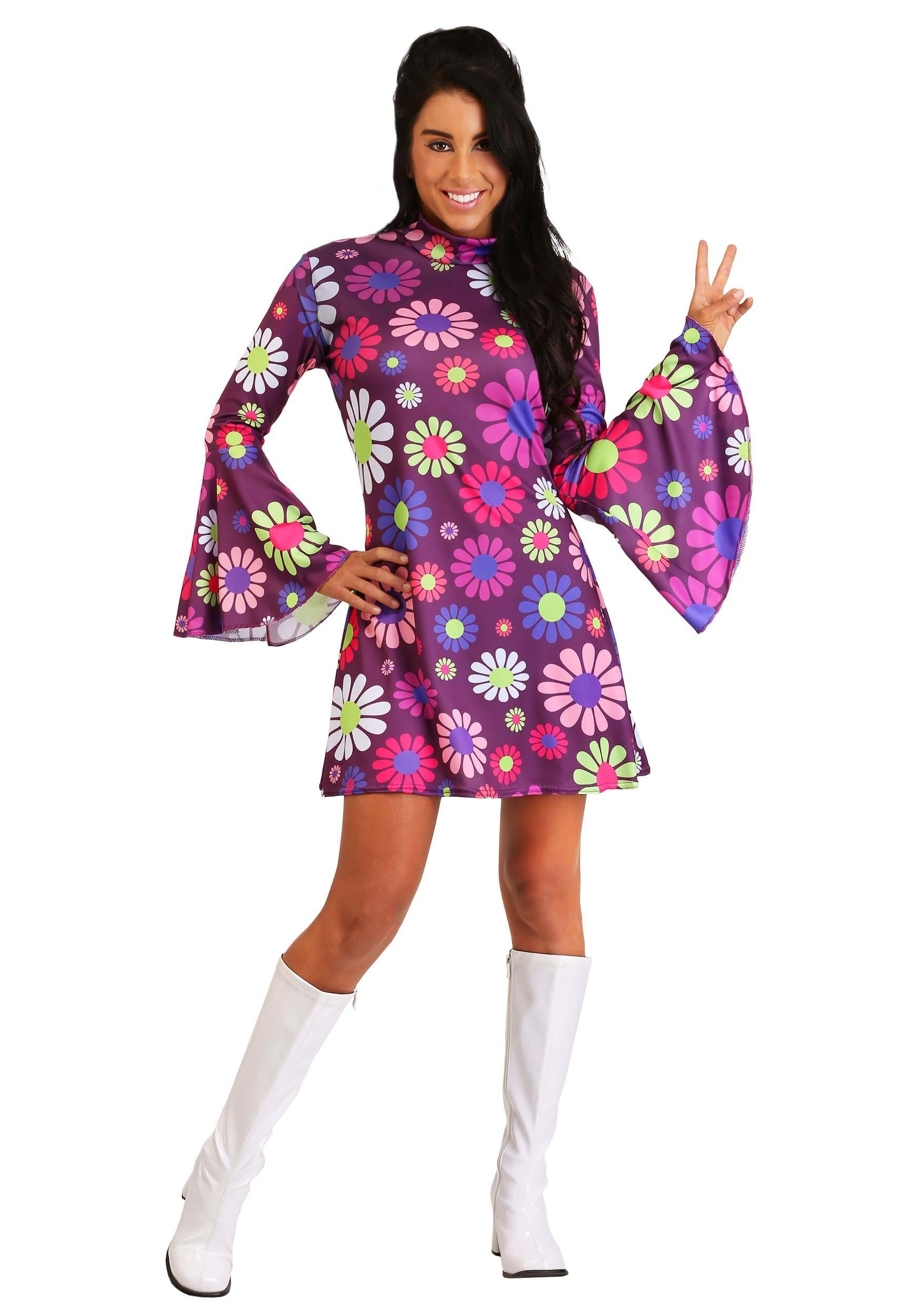 Adult 60s Hippie Groovy Baby Party Go Go Mod Disco Costume