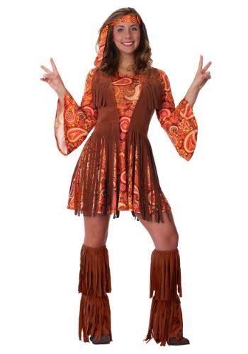Womens Plus Size Fringe Hippie Costume