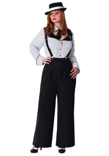 Click Here to buy Plus Size Pinstripe Gangster Costume from HalloweenCostumes, CDN Funds & Shipping