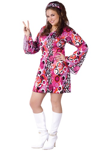 Click Here to buy Plus Size Feelin Groovy Dress Costume | Vintage 70s Dress from HalloweenCostumes, CDN Funds & Shipping