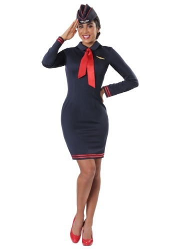 Click Here to buy Workin The Skies Flight Attendant Plus Size Costume from HalloweenCostumes, CDN Funds & Shipping