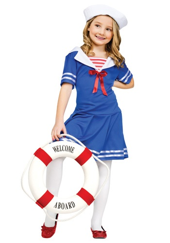 Click Here to buy Girls Sweet Sailor Costume from HalloweenCostumes, CDN Funds & Shipping