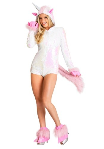 Click Here to buy Womens Sequined Unicorn Costume from HalloweenCostumes, CDN Funds & Shipping