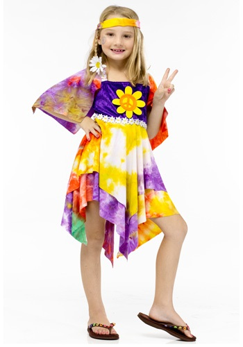 Click Here to buy Daisy Hippie Girl Kids Costume from HalloweenCostumes, CDN Funds & Shipping