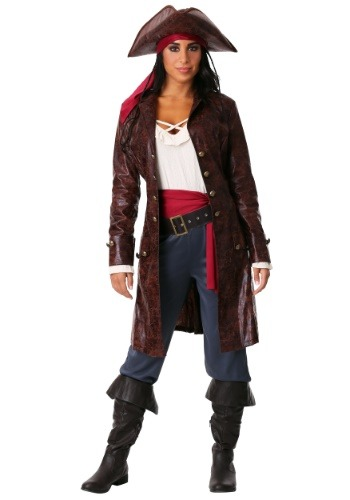 Womens Plus Size Pretty Pirate Captain Costume