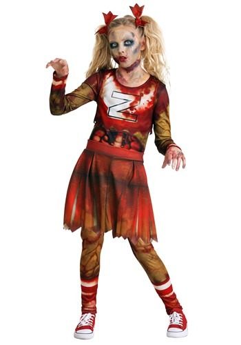 Click Here to buy Zombie Cheerleader Girls Costume from HalloweenCostumes, CDN Funds & Shipping
