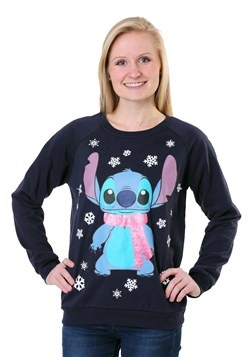 Juniors Lilo and Stitch Snowflake Stitch Light Up Sweater1