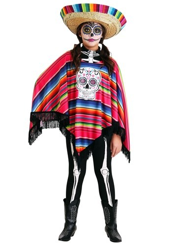 girl's day of the dead poncho