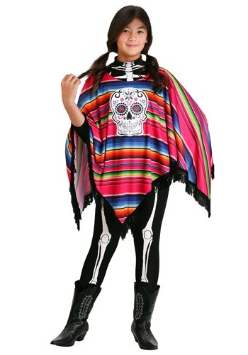 Day of the Dead Girls Poncho Costume