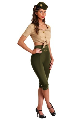 Click Here to buy Womens Vintage Pin Up Soldier Costume from HalloweenCostumes, CDN Funds & Shipping
