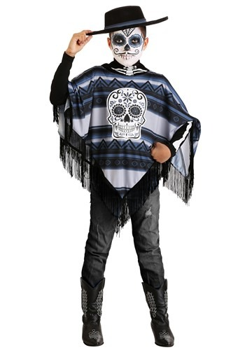 Day of the Dead Poncho Costume Boys