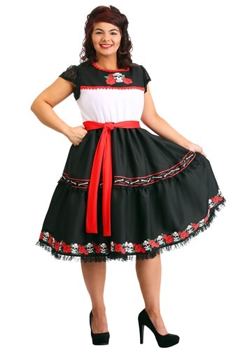 Click Here to buy Plus Size Sassy Sugar Skull Womens Costume from HalloweenCostumes, CDN Funds & Shipping