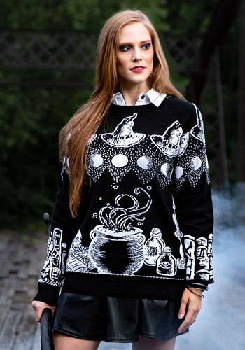 Adult Witch Spellcraft and Curios Ugly Halloween Sweater