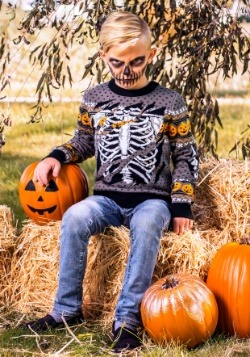 Child Ripped Open Skeleton Ugly Halloween Sweater