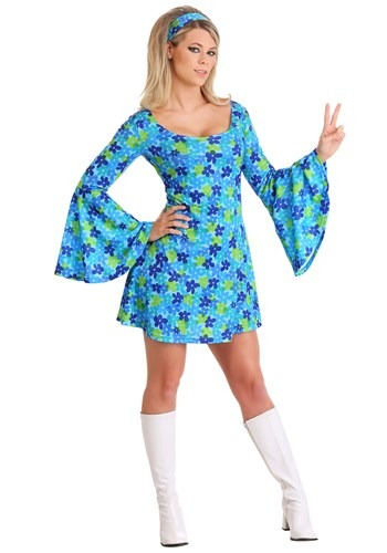 Plus Size Wild Flower 70s Hippie Dress Costume for Women