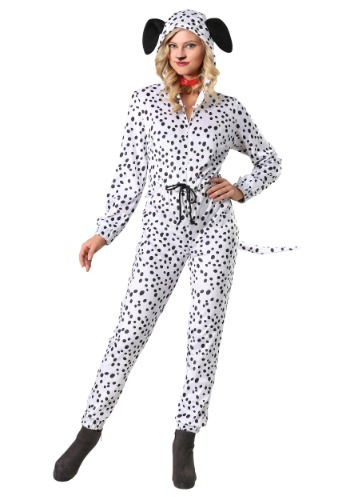 Womens Plus Size Cozy Dalmatian Jumpsuit Costume